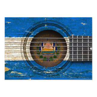 Old Acoustic Guitar with El Salvador Flag Card