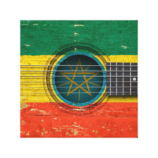 Old Acoustic Guitar with Ethiopian Flag Canvas Prints