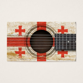 Old Acoustic Guitar with Georgian Flag Business Card