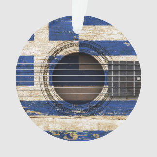 Old Acoustic Guitar with Greek Flag