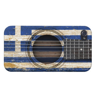 Old Acoustic Guitar with Greek Flag iPhone 4 Cover