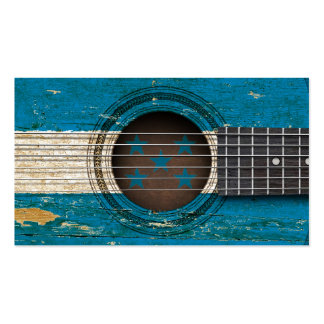 Old Acoustic Guitar with Honduras Flag Business Card Template