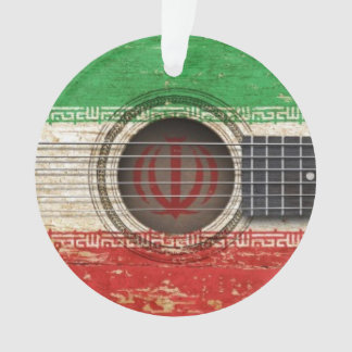 Old Acoustic Guitar with Iranian Flag Ornament