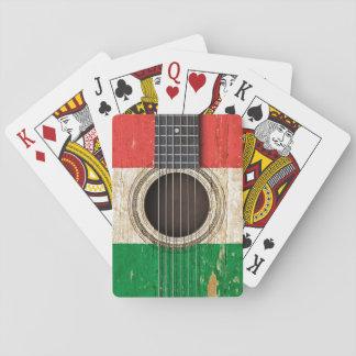 Old Acoustic Guitar with Italian Flag Card Decks
