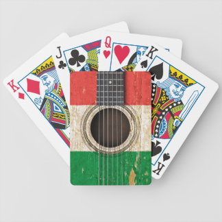Old Acoustic Guitar with Italian Flag Poker Cards