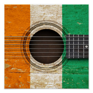Old Acoustic Guitar with Ivory Coast Flag Poster