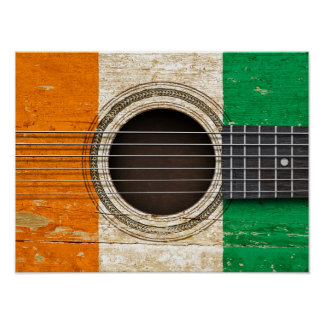 Old Acoustic Guitar with Ivory Coast Flag Print