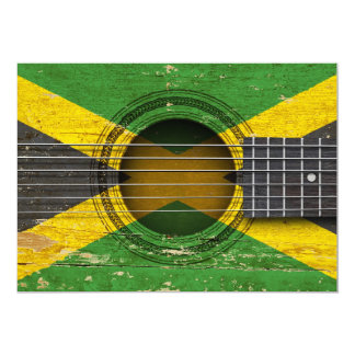 Old Acoustic Guitar with Jamaican Flag Personalized Announcements