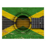 Old Acoustic Guitar with Jamaican Flag Poster