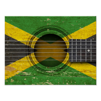 Old Acoustic Guitar with Jamaican Flag Posters
