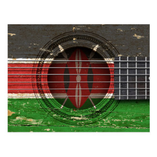 Old Acoustic Guitar with Kenyan Flag Postcard