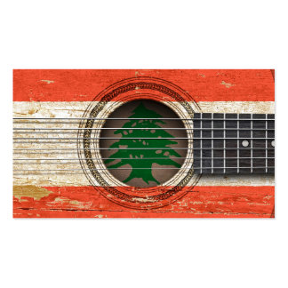 Old Acoustic Guitar with Lebanese Flag Business Card Template