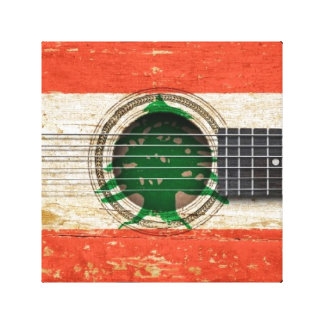 Old Acoustic Guitar with Lebanese Flag Gallery Wrapped Canvas