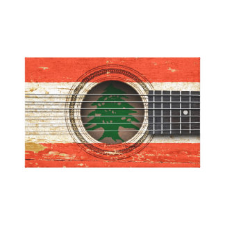 Old Acoustic Guitar with Lebanese Flag Gallery Wrap Canvas
