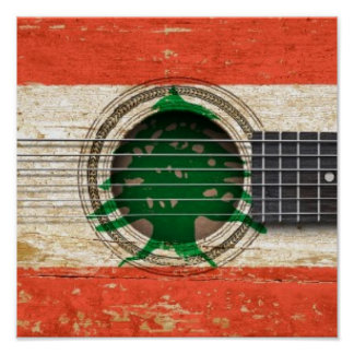 Old Acoustic Guitar with Lebanese Flag Poster