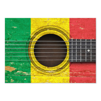 Old Acoustic Guitar with Mali Flag Card