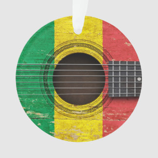 Old Acoustic Guitar with Mali Flag Ornament