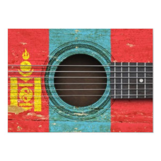 Old Acoustic Guitar with Mongolian Flag Card