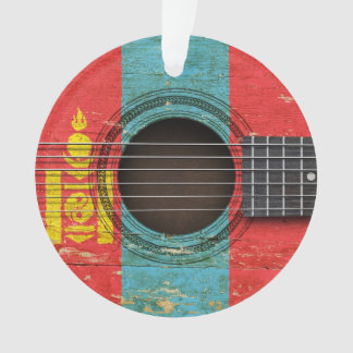 Old Acoustic Guitar with Mongolian Flag Ornament