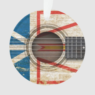 Old Acoustic Guitar with Newfoundland Flag Ornament