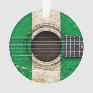 Old Acoustic Guitar with Nigerian Flag