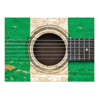 Old Acoustic Guitar with Nigerian Flag Personalized Announcement
