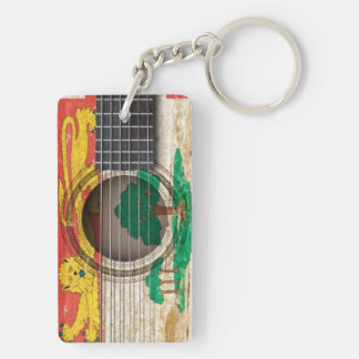 Old Acoustic Guitar with P.E.I. Flag Acrylic Keychains