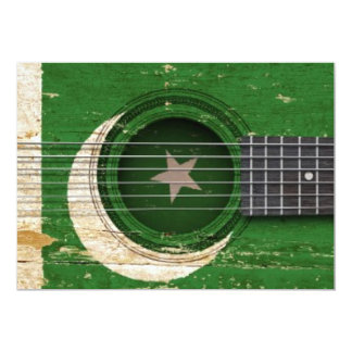 Old Acoustic Guitar with Pakistani Flag 5x7 Paper Invitation Card