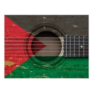Old Acoustic Guitar with Palestinian Flag Posters