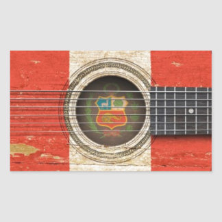 Old Acoustic Guitar with Peruvian Flag Rectangle Sticker