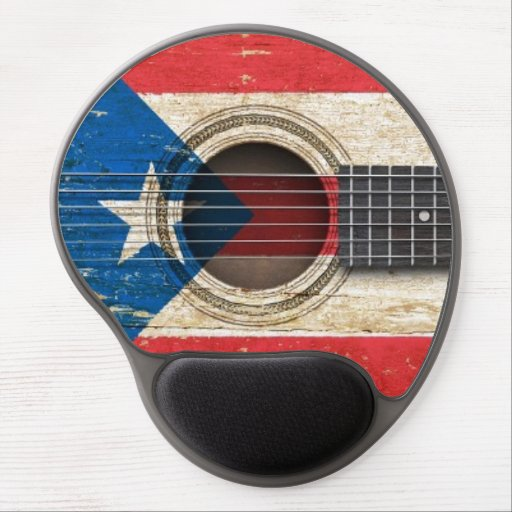 Old Acoustic Guitar with Puerto Rico Flag Gel Mousepad