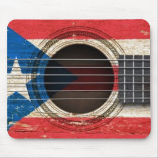 Old Acoustic Guitar with Puerto Rico Flag Mouse Pad