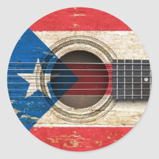 Old Acoustic Guitar with Puerto Rico Flag Round Sticker