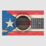 Old Acoustic Guitar with Puerto Rico Flag Rectangular Stickers