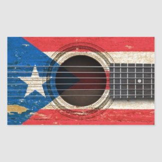 Old Acoustic Guitar with Puerto Rico Flag Rectangular Sticker