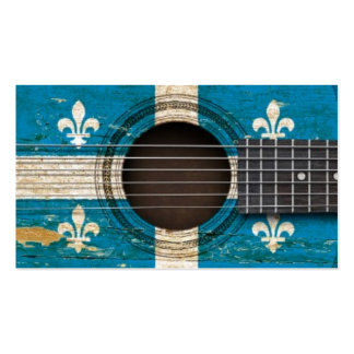 Old Acoustic Guitar with Quebec Flag Business Card