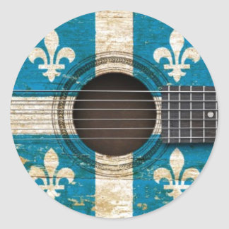 Old Acoustic Guitar with Quebec Flag Classic Round Sticker