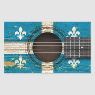 Old Acoustic Guitar with Quebec Flag Rectangular Sticker