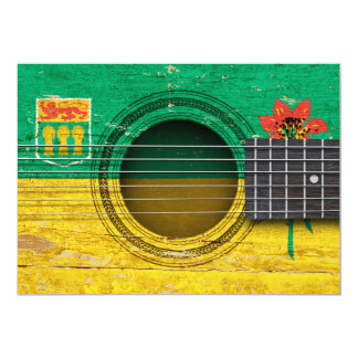 Old Acoustic Guitar with Saskatchewan Flag 5x7 Paper Invitation Card