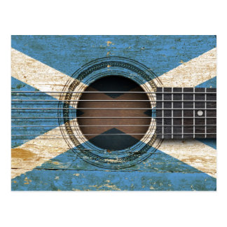 Old Acoustic Guitar with Scottish Flag Postcard