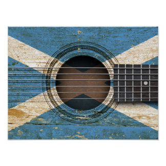Old Acoustic Guitar with Scottish Flag Poster