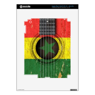 Old Acoustic Guitar with Senegal Flag iPad 3 Skins