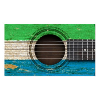 Old Acoustic Guitar with Sierra Leone Flag Business Card Templates