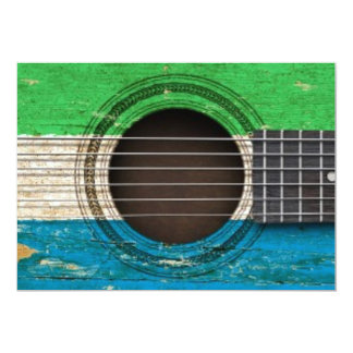 Old Acoustic Guitar with Sierra Leone Flag 5x7 Paper Invitation Card