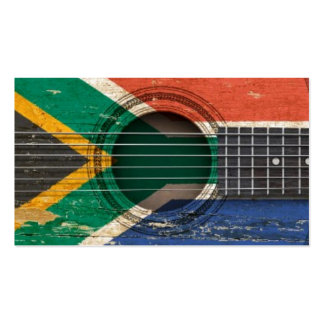 Old Acoustic Guitar with South African Flag Business Card Templates