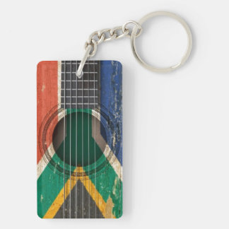 Old Acoustic Guitar with South African Flag Acrylic Keychains