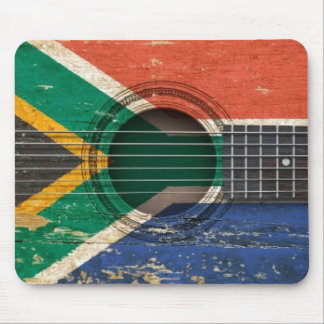 Old Acoustic Guitar with South African Flag Mouse Pad