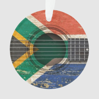 Old Acoustic Guitar with South African Flag Ornament