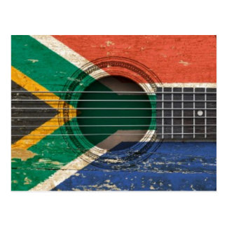 Old Acoustic Guitar with South African Flag Postcard