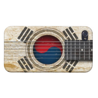 Old Acoustic Guitar with South Korean Flag Cover For iPhone 4